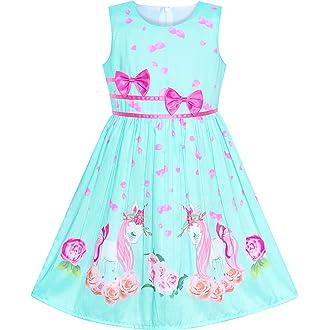 0ea36184d6e9 #1 Sunny Fashion Girls Dress Rose Flower Double Bow Tie Party Sundress