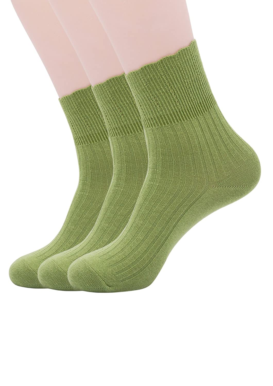 SEMOHOLLI 3-Pairs Womens Socks, Womens Super Soft Combed Cotton Socks