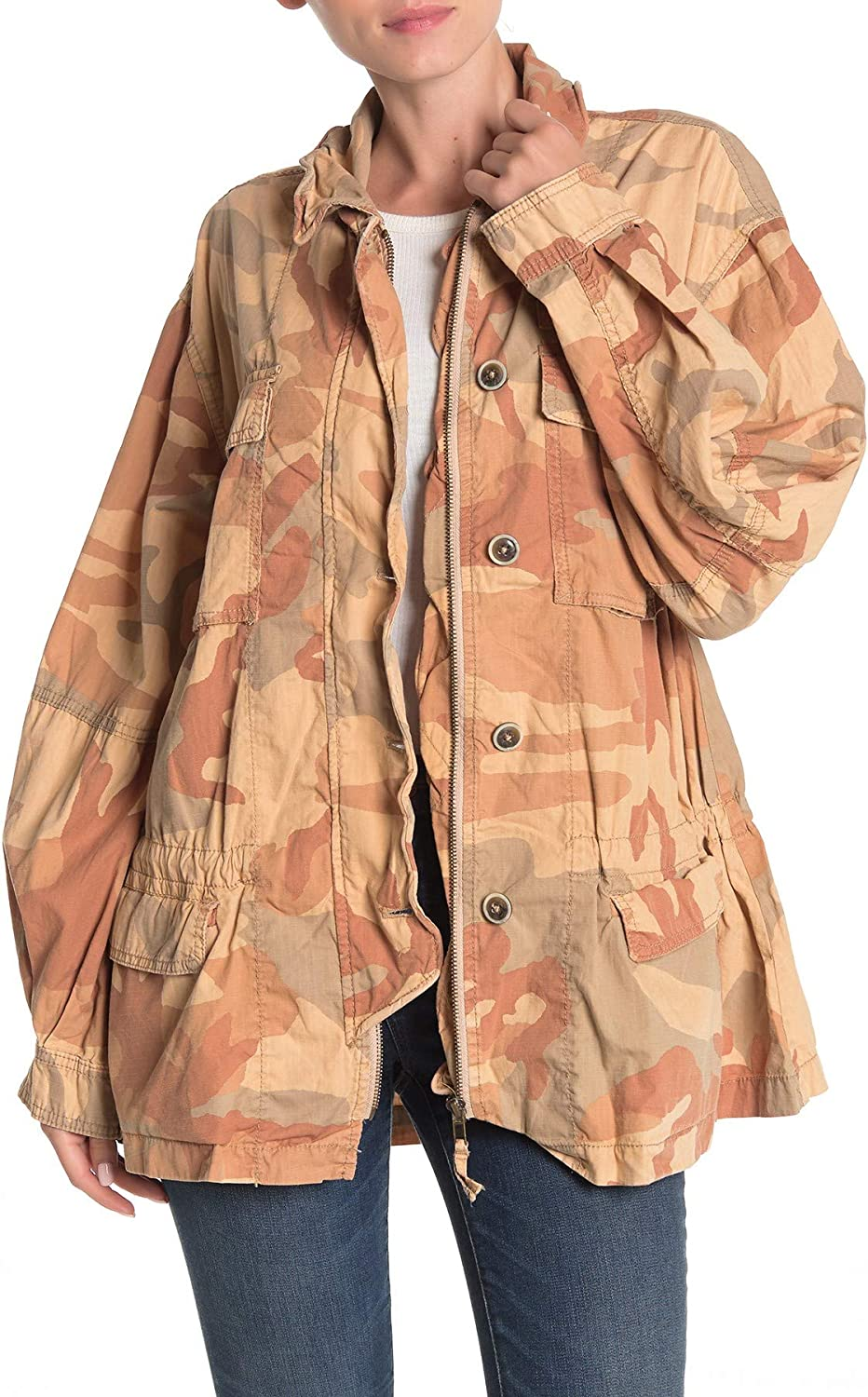 Free People Womens Lead The Way Camouflage Field Jacket