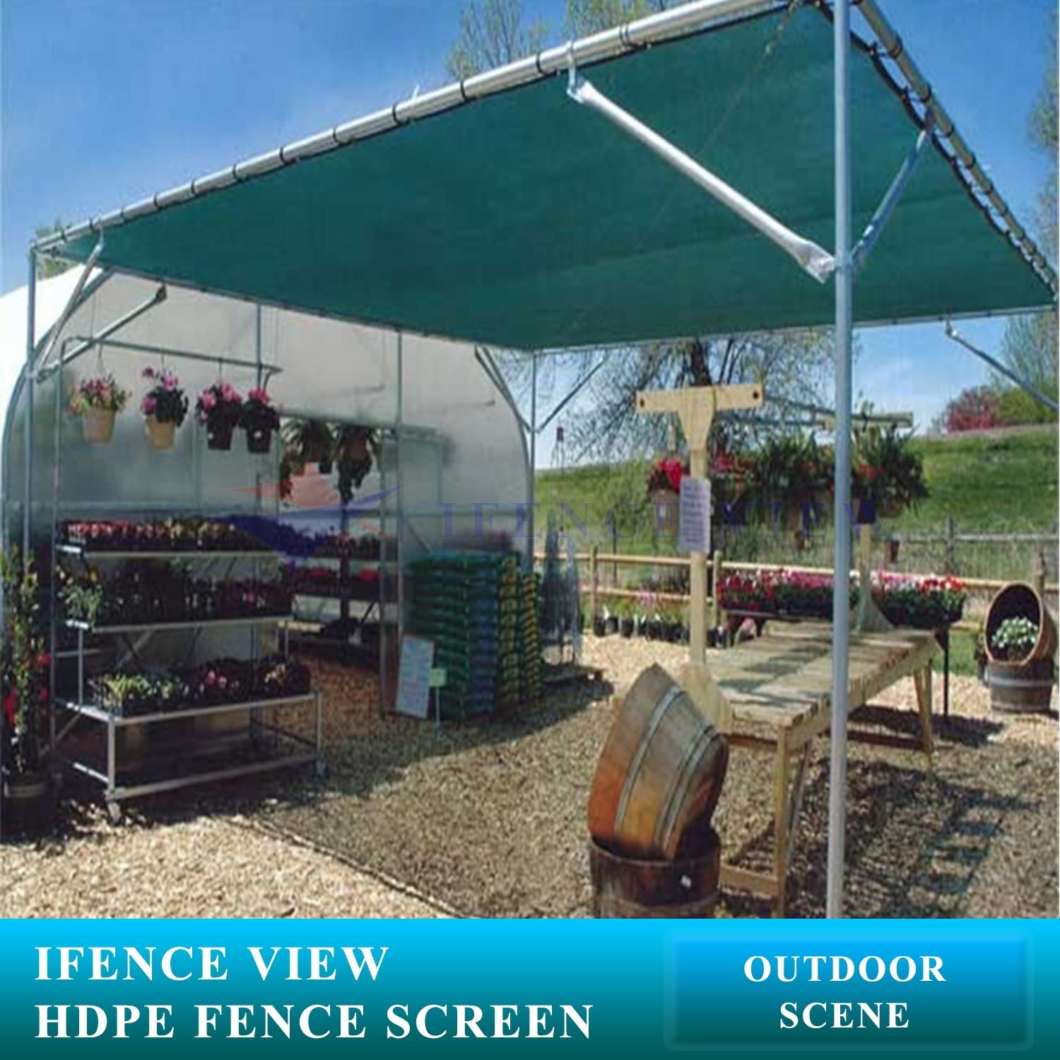 Ifenceview 5x100 Green Shade Cloth Fence Privacy Screen Fence Cover Mesh Net for Construction Site Yard Driveway Garden Pergolas Gazebos Canopy Awning UV Protection