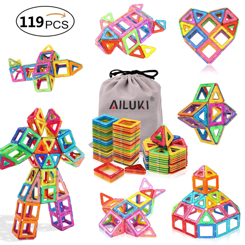 AILUKI Magnetic Blocks, 119 PCS Magnetic Building Blocks Set Strong Magnetic Tiles Stacking Blocks for Children Educational and Creative Imagination Development