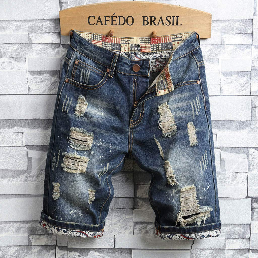 Mens Shorts Jeans Dainzuy Recreational Break Hole Turn Over Decorative Pattern Personality Short Pants Trousers