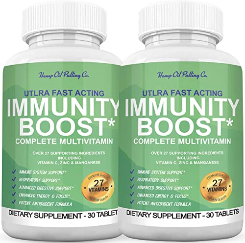 Immune Support Immunity System Booster with Echinacea Supplement, Vitamin C, Manganese Zinc - Better Than Elderberry - Healthy Stress Response, Healthy Respiratory System Immune Defense - 2 Pack