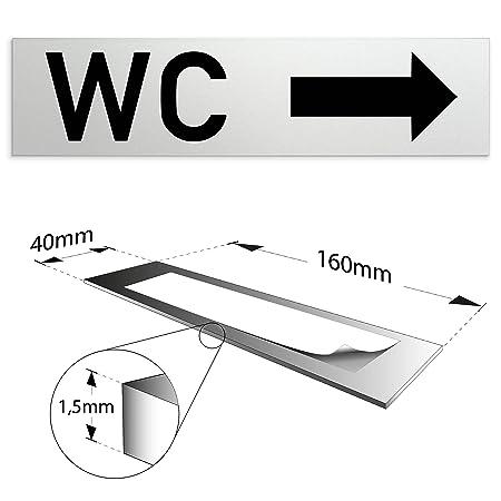 Baños de aluminio WC - cartel para puerta con mensaje WC