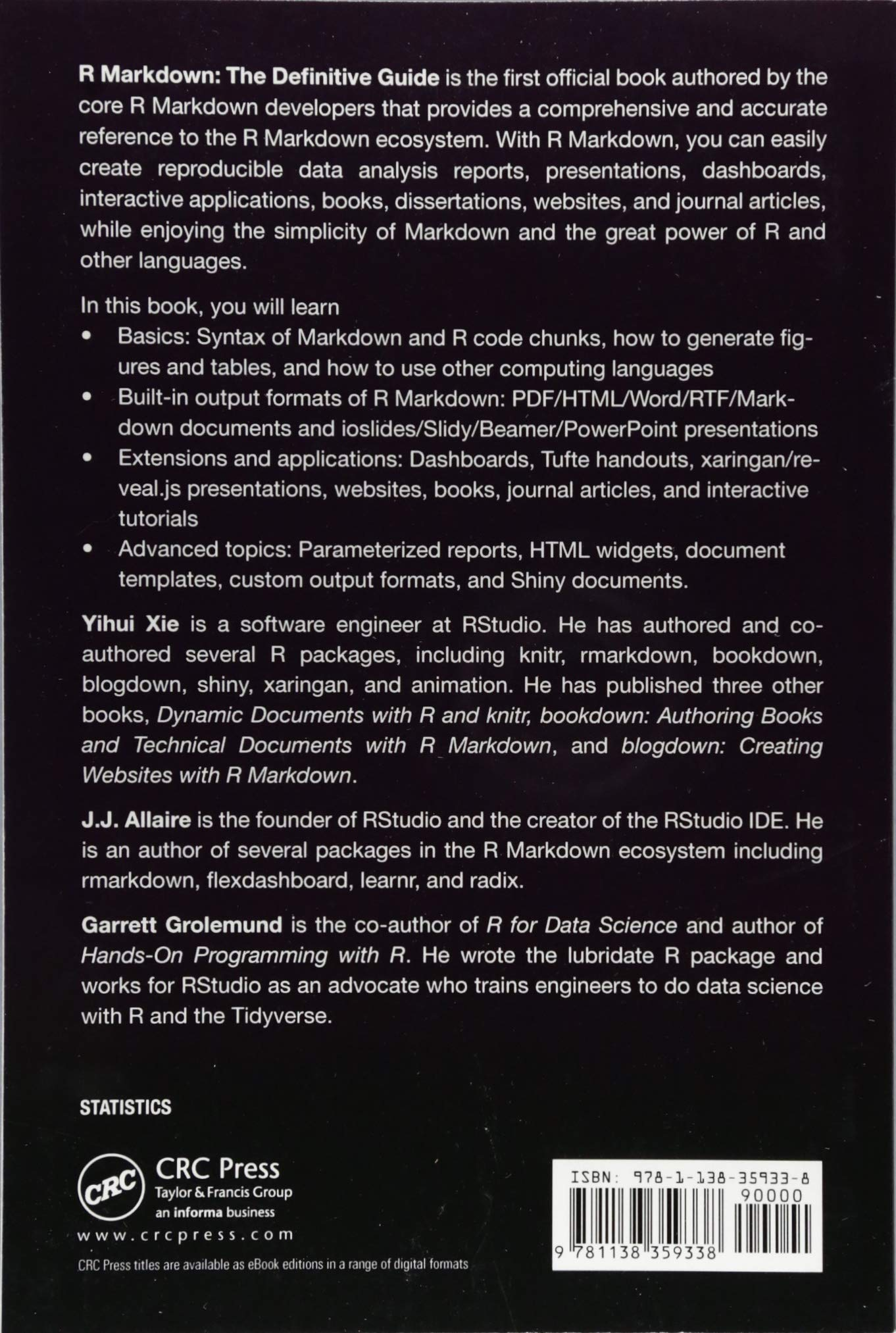 R Markdown: The Definitive Guide Chapman & Hall/CRC The R Series: Amazon.es: Yihui Xie, J.J. Allaire, Garrett Grolemund: Libros en idiomas extranjeros