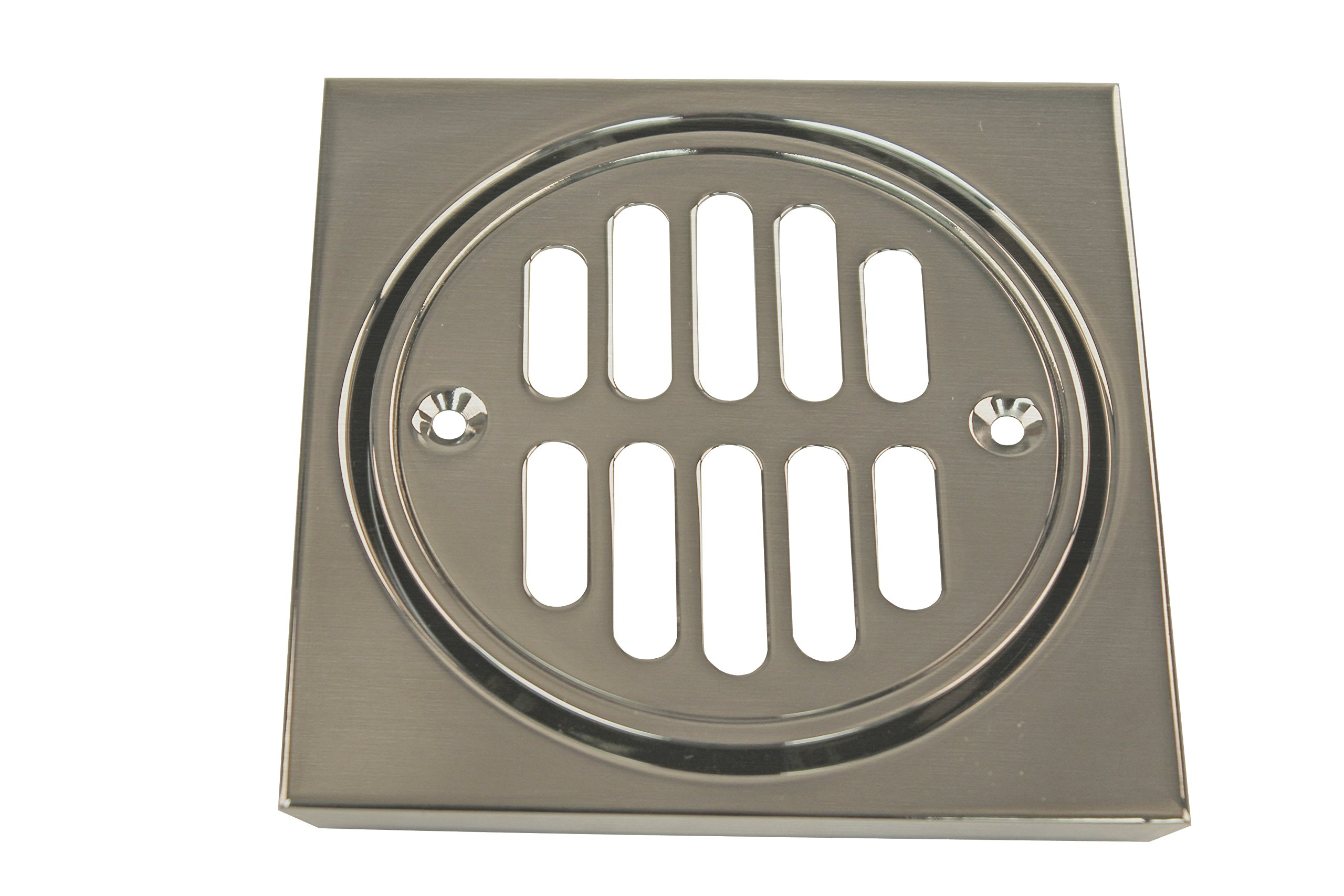 Westbrass Shower Strainer Set Square with Crown, Satin Nickel, D313-07