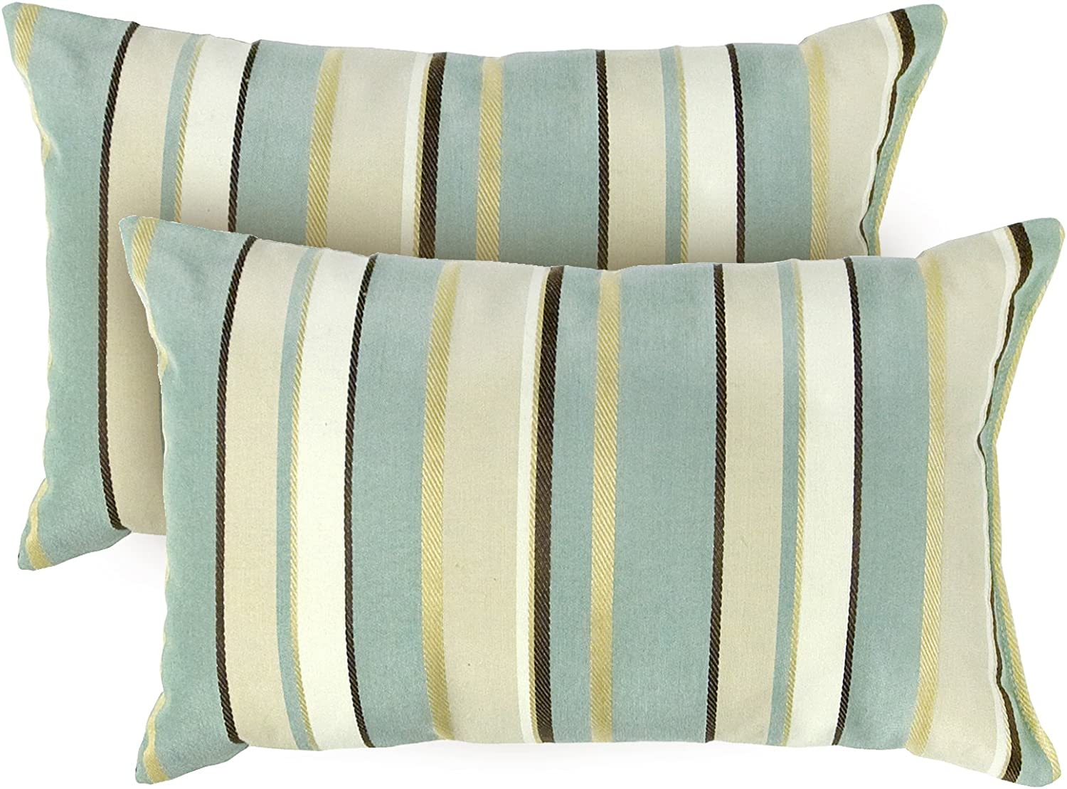 Greendale Home Fashions Rectangle Outdoor Accent Pillows, Spa Stripe, Set of 2