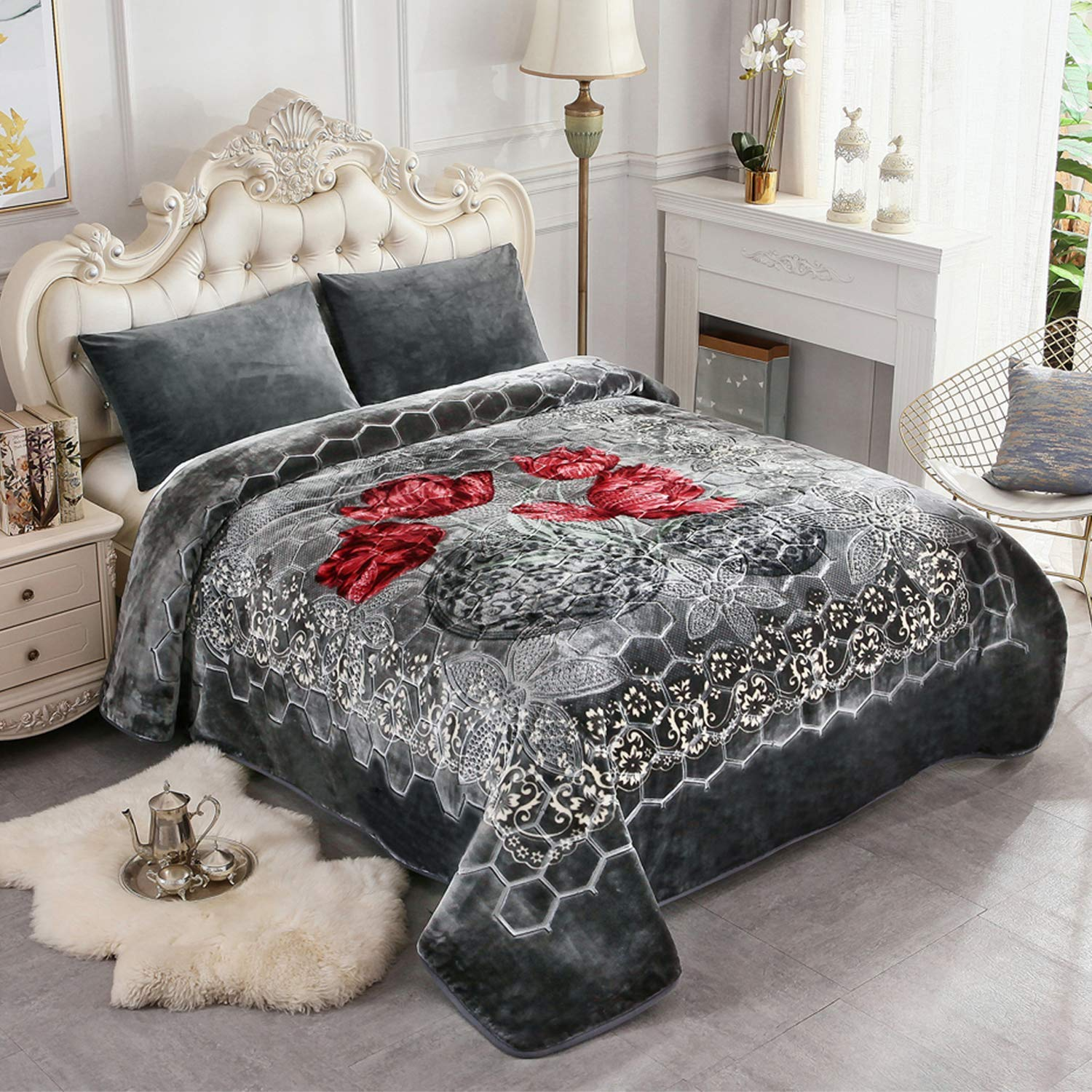 JML Fleece Blanket King Size, Heavy Korean Mink Blanket 85 X 95 Inches- 9 Lbs, Single Ply, Soft and Warm, Thick Raschel Printed Mink Blanket for Autumn,Winter,Bed,Home,Gifts, GreyFlower