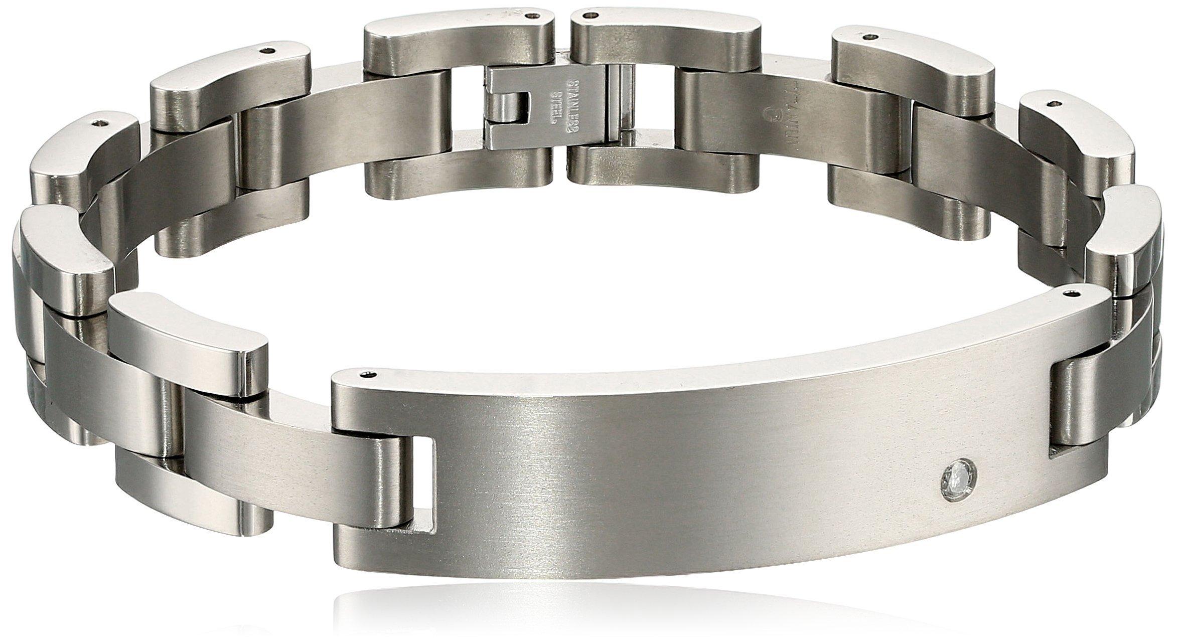 Cold Steel Titanium ID with Diamond Bracelet