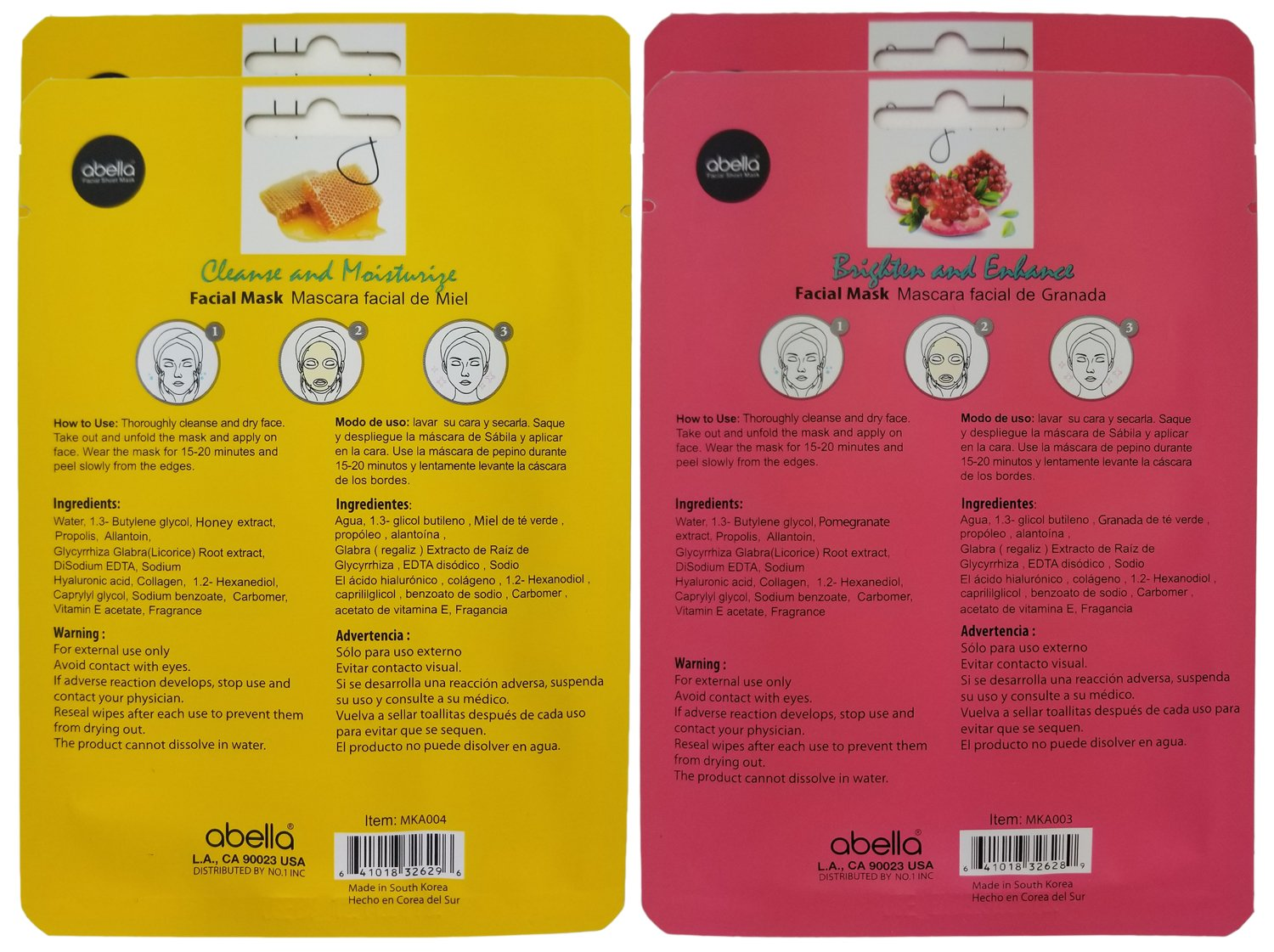 Amazon.com : Abella Cosmetic Essence Facial Mask Paper Sheet Korea Skin Care Moisturizing - 4 Pack, Honey & Pomegranate : Beauty