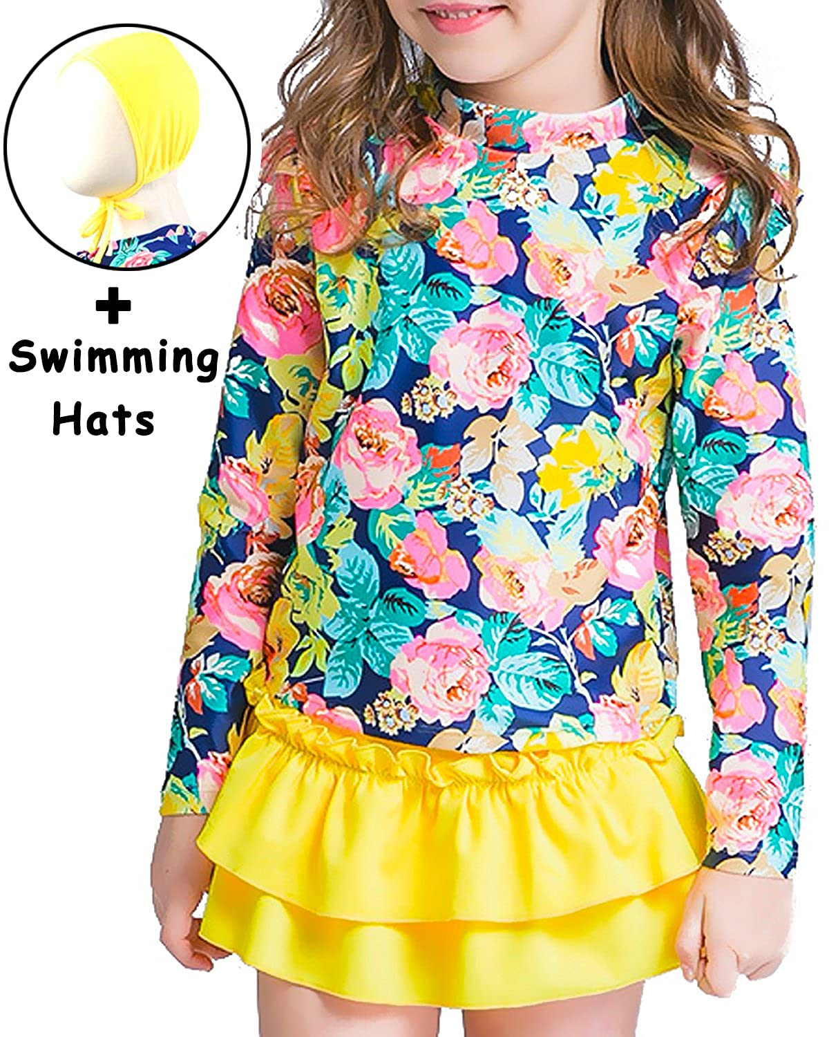 a38071001d Package Included – 1* Rash Guard Top + 1* Rash Guard Bottom + 1* Swimming  Hats. ????Our Size - These girl rash guard has 2 series and from 3-14 years  old ...