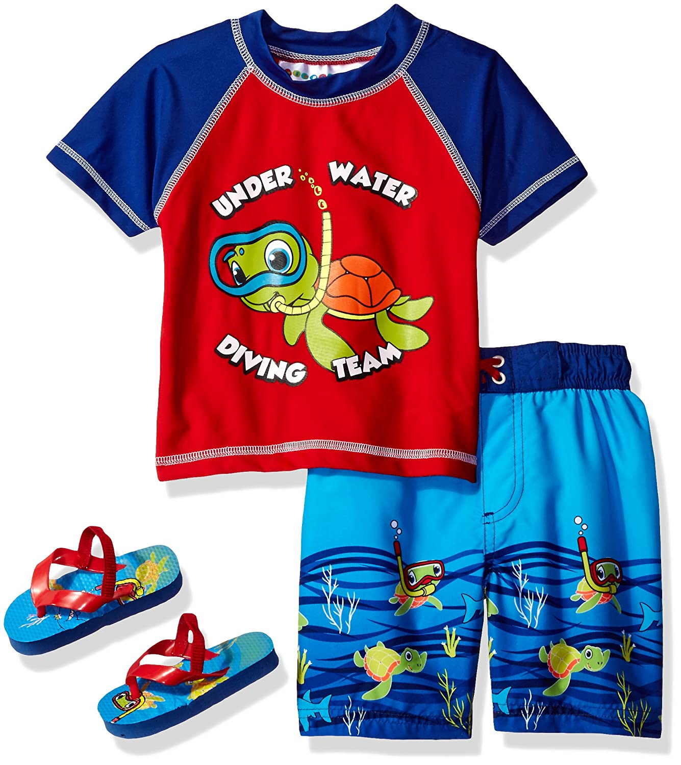 Wippette Baby Boys' Turtle Rash Guard Set Red 4T 89031