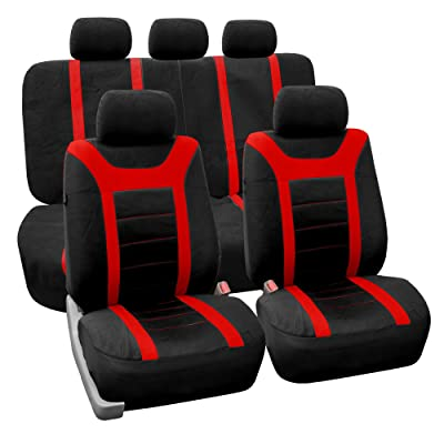 FH Group Universal Fit Full Set Sports Fabric Car Seat Cover with Airbag & Split Ready, (Red/Black) (FH-FB070115, Fit Most Car, Truck, SUV, or Van): Automotive [5Bkhe0808708]