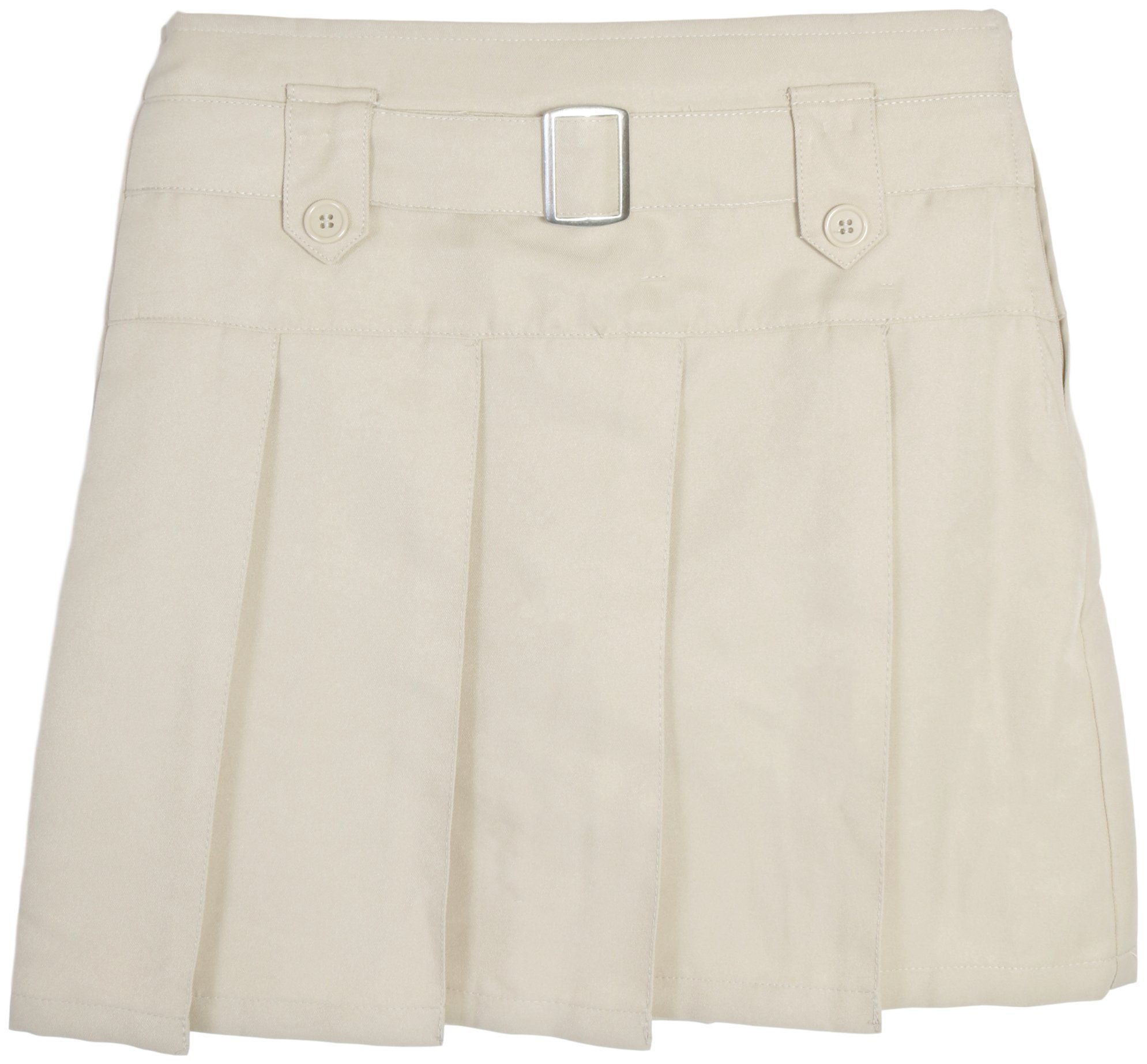 Beverly Hills Polo Club Girls School Uniform Belted Pleated Scooter (5, Khaki with Buttons)'