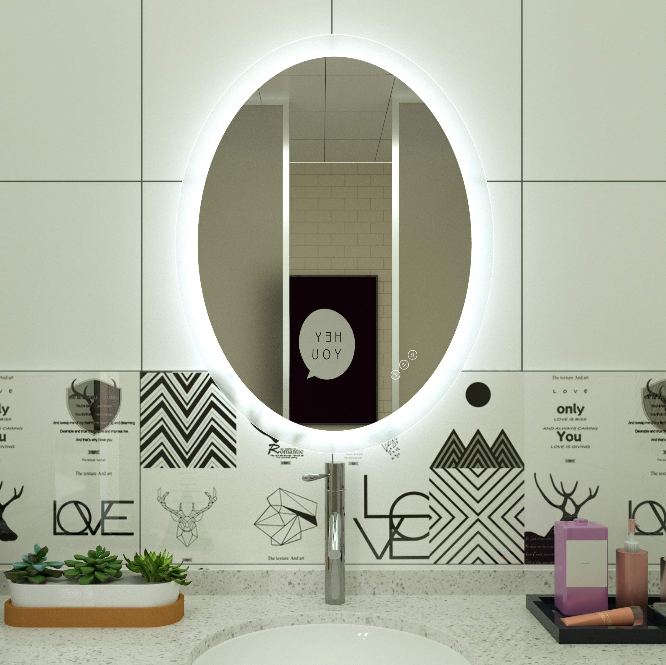 HAUSCHEN Oval 23x30 LED Lighted Bathroom Wall Mounted Mirror with CRI >90 Adjustable Warm White/Daylight Lights+Anti Fog+Dimmable Memory Touch Button+IP44 Waterproof by HAUSCHEN HOME