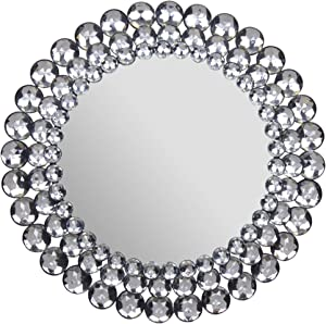 "Everly Hart Collection Round Jeweled, 17"" Mirrors, 17"" x 17"", Silver"