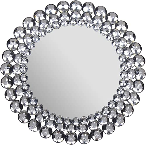Everly Hart Collection Circle Jewel Beaded Mirrors, 17 x 17