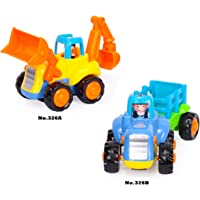 Akrobo Friction Powered Cars, Push and Go Toy Trucks Construction Vehicles for Toddlers, 1-3 Years - Set of 2