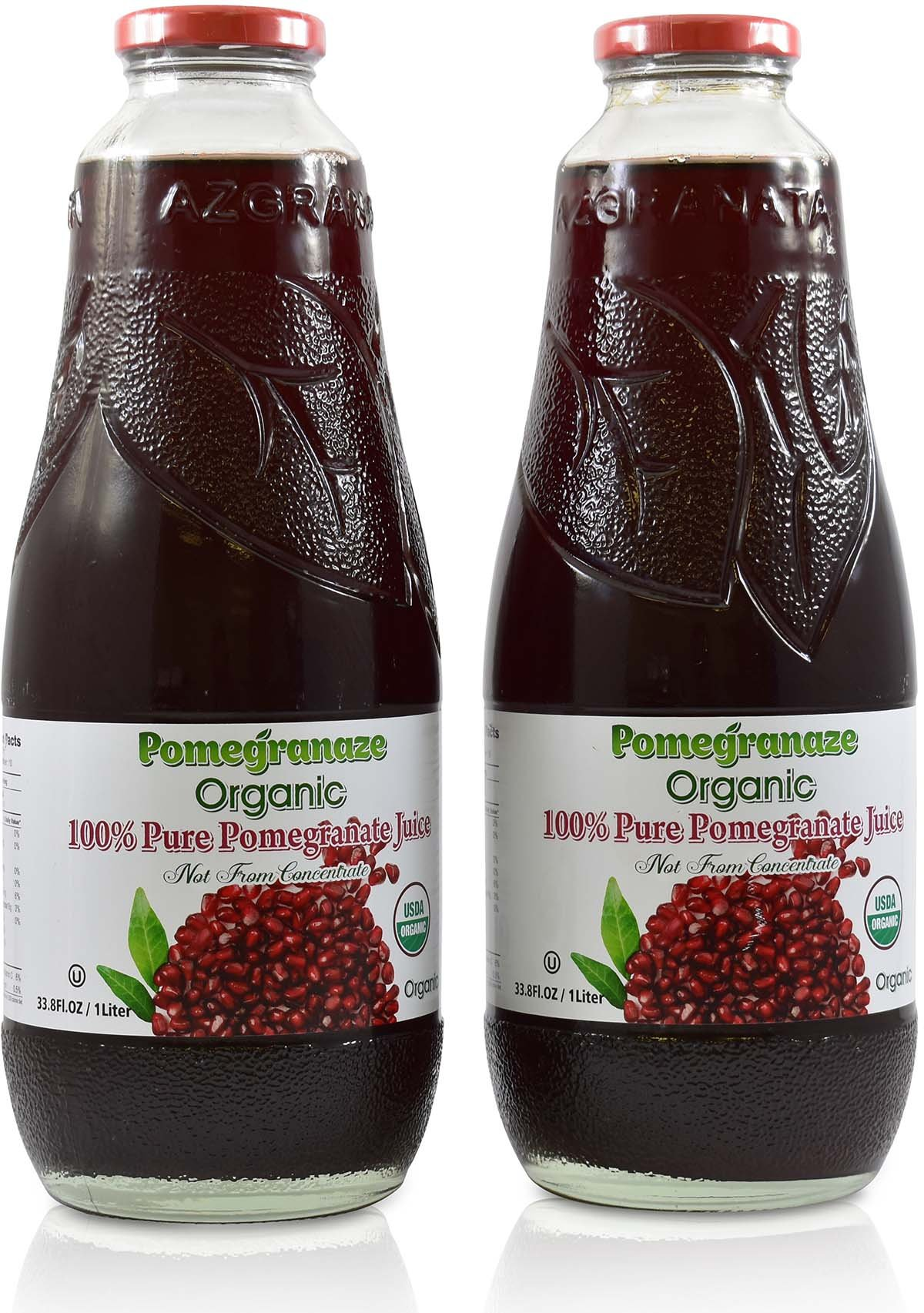 100% Pomegranate Juice - 2 Pack - 33.8 fl oz - USDA Organic Certified - Glass Bottle - No Sugar Added - No Preservatives - Squeezed From Fresh Pomegranates by Blue Ribbon (Image #1)