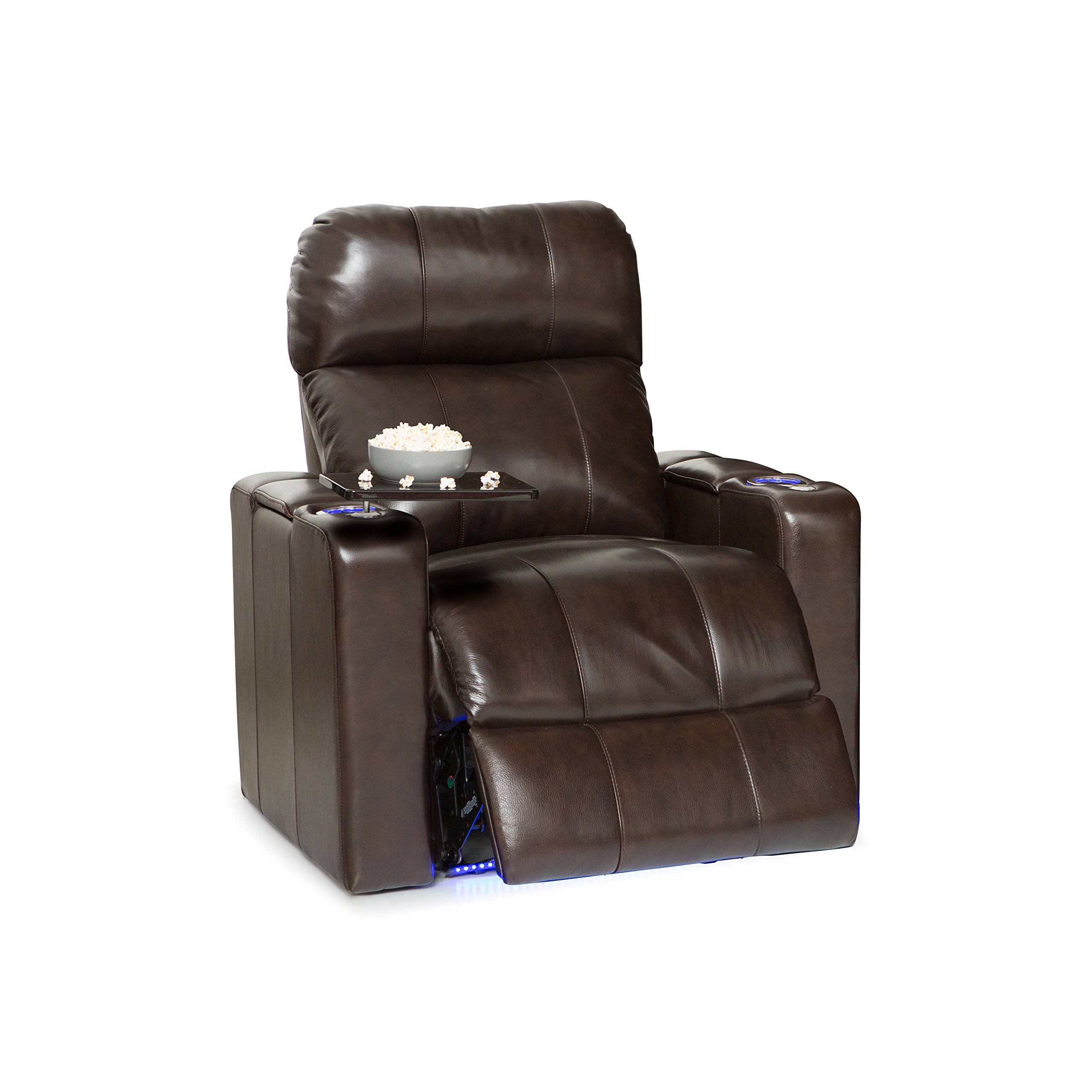 Seatcraft Monterey Leather Power Recliner with Adjustable Powered Headrest, In-Arm Storage, and USB Charging, Brown