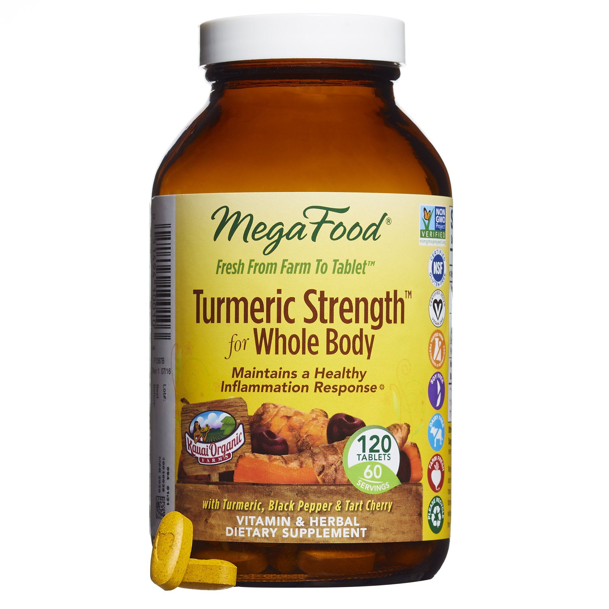 MegaFood - Turmeric Strength for Whole Body, Curcumin Support for Healthy Inflammation, 120 Tablets (FFP)