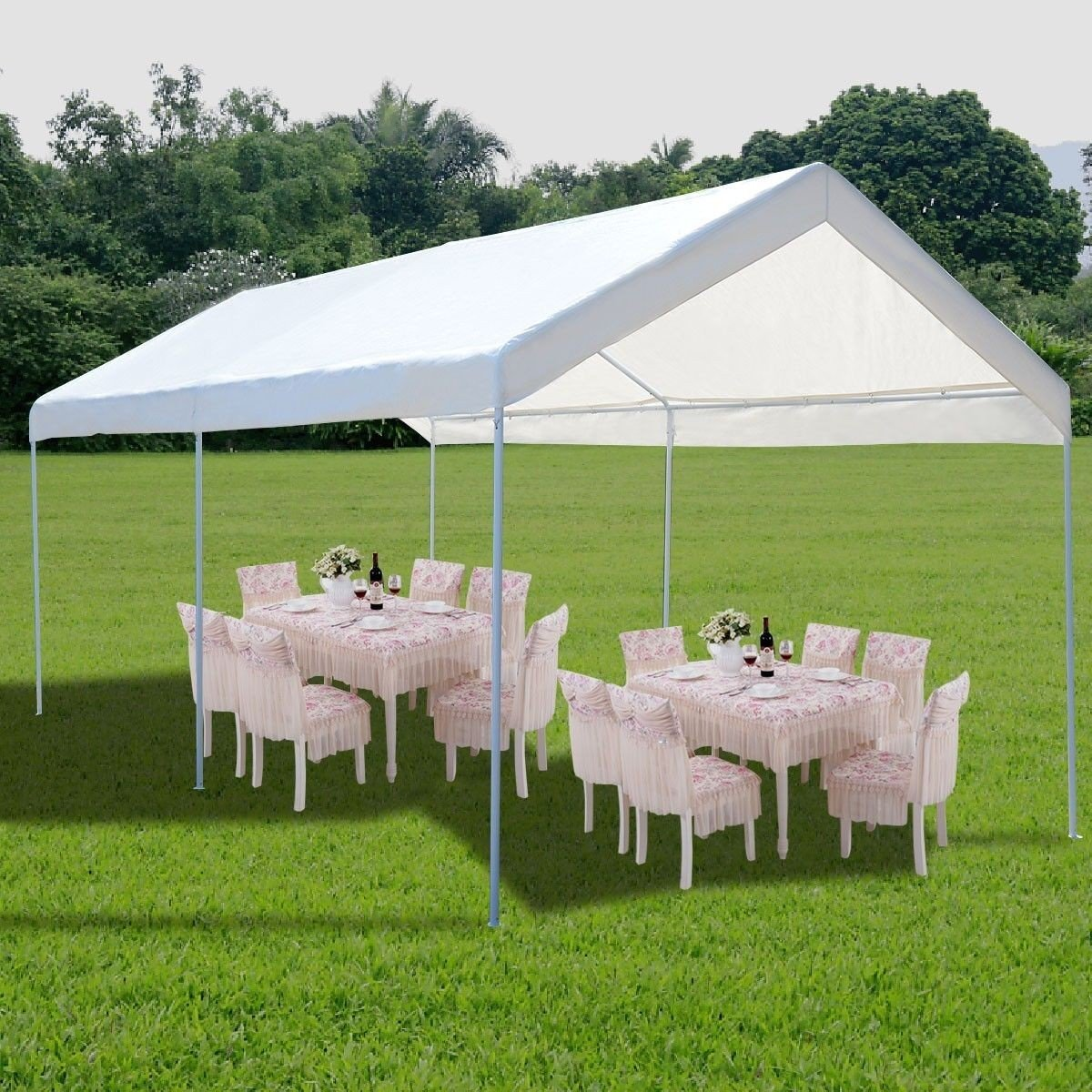Amazon.com  10 x 20 Steel Frame Canopy Shelter Portable Car Carport Garage Cover Party Tent - 6-Leg Construction With 1-1/4  Diameter Tubing ... & Amazon.com : 10 x 20 Steel Frame Canopy Shelter Portable Car ...