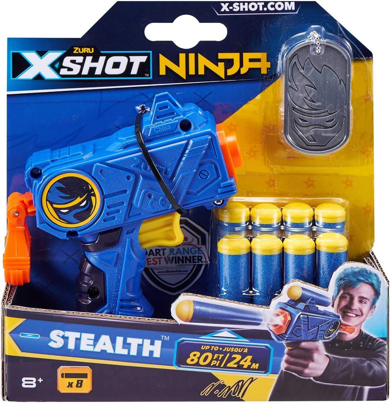 Zuru 36317TQ1 X-Shot Ninja Stealth Blaster - Juego de Dardos y Placas para Perros, Multicolor