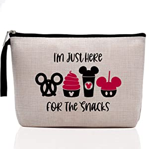 Snacks Bag for Travel, Funny Makeup Bag, Waterproof Makeup Bag, Washable, Reusable for Travel, Beach, Cute Toiletry Bag for Girls Teens Friends- I'm Just Here for The Snacks