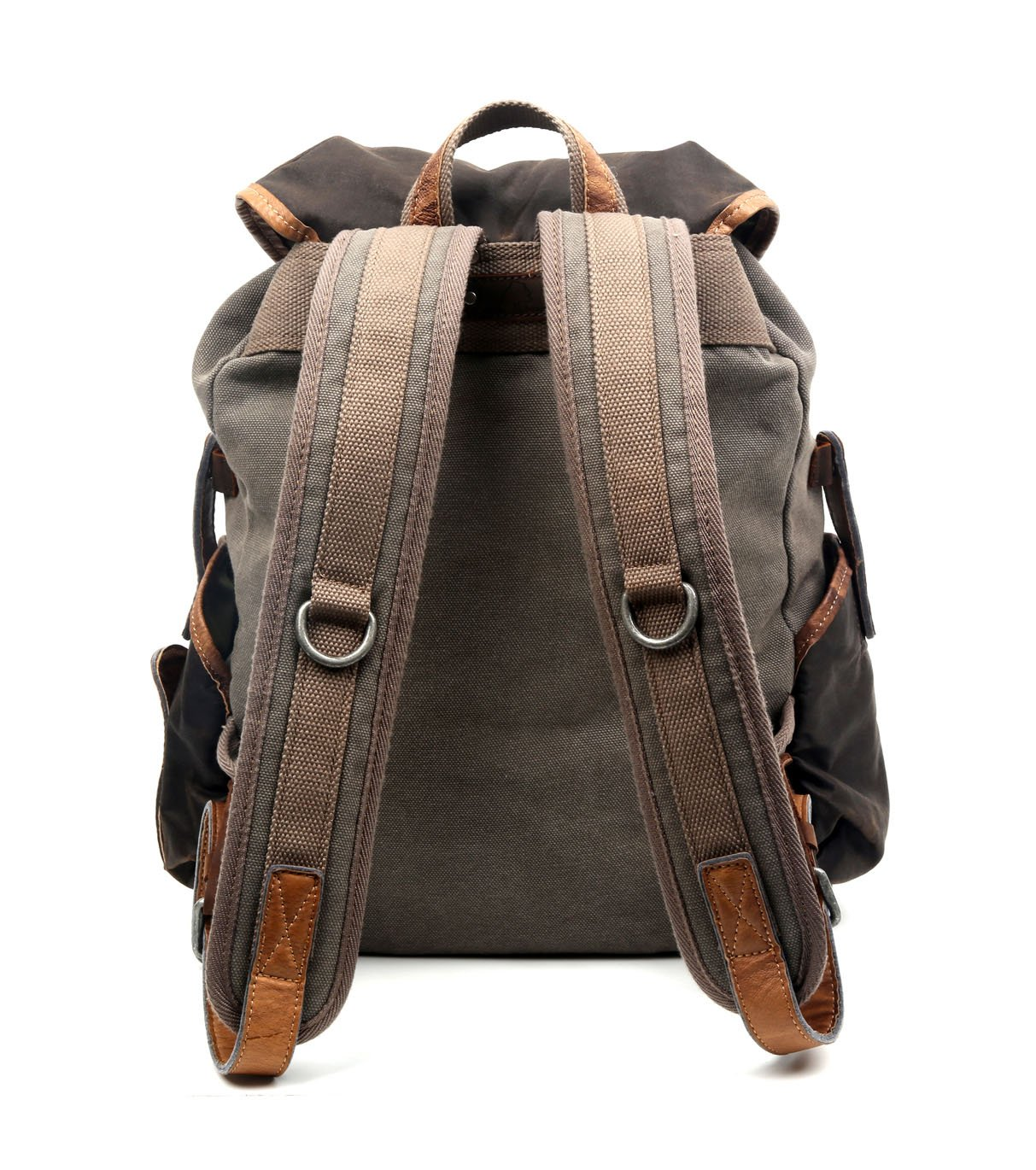 The Same Direction Tapa Two Tone Canvas Backpack Leather and Canvas Bag (Grey) by The Same Direction (Image #3)