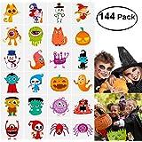 Unomor 144 Sortierte Halloween Abwaschbare Tattoos, 24 Sticker mitSüßen Designs ALS Kinder Tattoos
