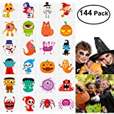 Unomor 144 Assorted Halloween Temporary Tattoo Kids, 24 Cute Designs Stick on Children Tattoos