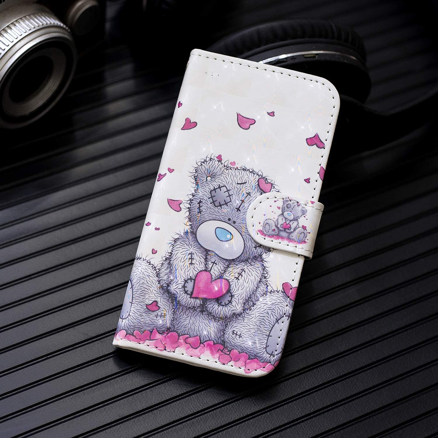 Shockproof Wallet Phone Cover 3D Painted PU Leather Flip Folio TPU Bumper Slim Protective Case for Motorola Moto G9 Plus with Magnetic Stand Card Holder Bear Motorola Moto G9 Plus Case