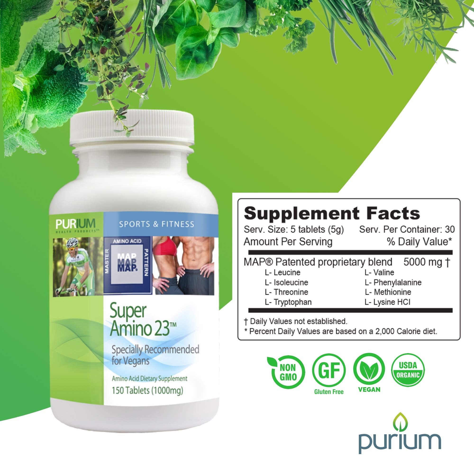Purium Super Amino 23-150 Vegan Tablets - BCAA & Essential Amino Acid Dietary Supplement, Pre Workout, Recovery Aid, May Help Build Muscle - Gluten Free - 30 Servings by Purium (Image #5)