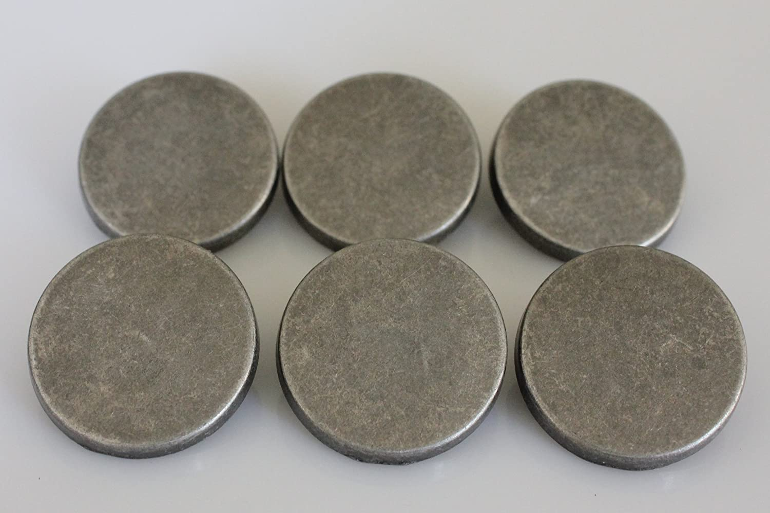 YCEE 6 Pieces Antiqued Silver Metal Coat Big Buttons Set (25mm, 1 inch) -  Flat Surface - For Overcoat, Winter Coat, Uniform, Jacket, Blazer