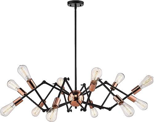 Jazava Industrial Sputnik Chandelier, 12-Lights Modern Pendant Light for Farmhouse, Hanging Light Fixture, Adjustable Swing Arms, Black and Rose Gold Finish