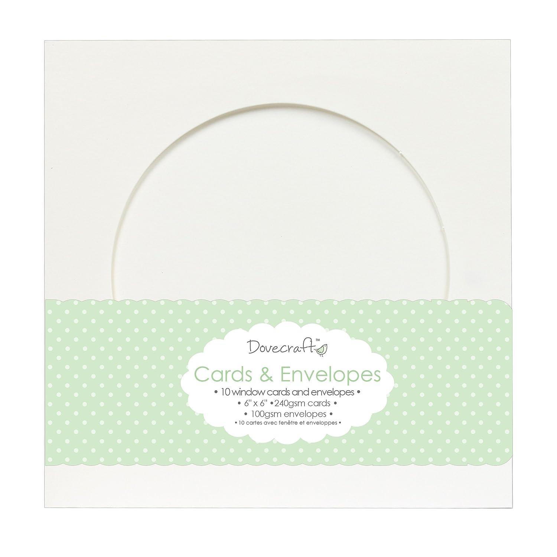 Dovecraft Essentials 10 Pack Circle Window 6x6 Quality Grade Kraft Cards /& Envelopes