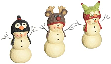 Blossom bucket snowmen with animal hats christmas decor set of 3