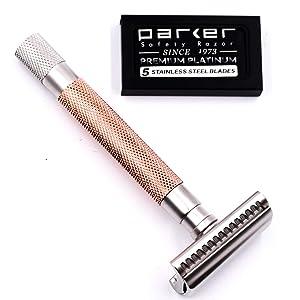 Parker's Semi Slant Safety Razor and 5 Parker Premium Double Edge Razor Blades (Rose Gold)