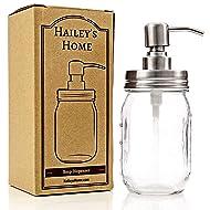 Glass Jar Soap Dispenser - Silver Liquid Pump for Bathroom & Kitchen - Rust Proof Stainless Steel
