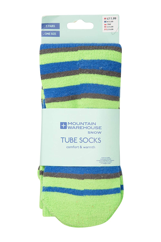 Mountain Warehouse Striped Kids Ski Tubes - 2 Pack Winter Socks