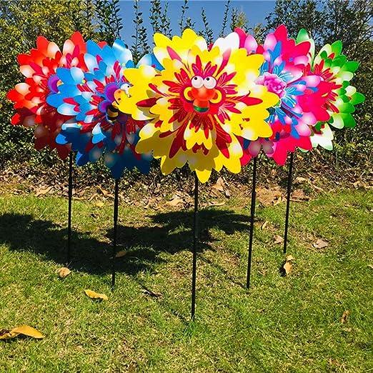 ECMQS - Spinner de Viento – Tres Capas de Dibujos Animados de Girasol para Exterior, jardín, decoración de Molino de Viento, Juguete para niños – 1 Unidad de Color Aleatorio: Amazon.es: Productos para mascotas