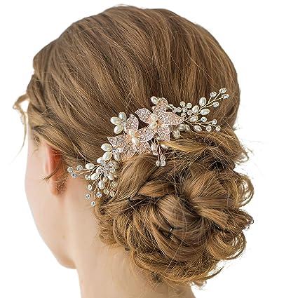 Sweetv oro rosa cristallo matrimonio pettine strass laterale pettine – fiore  fatto a mano accessorio per 7fceb0a97620
