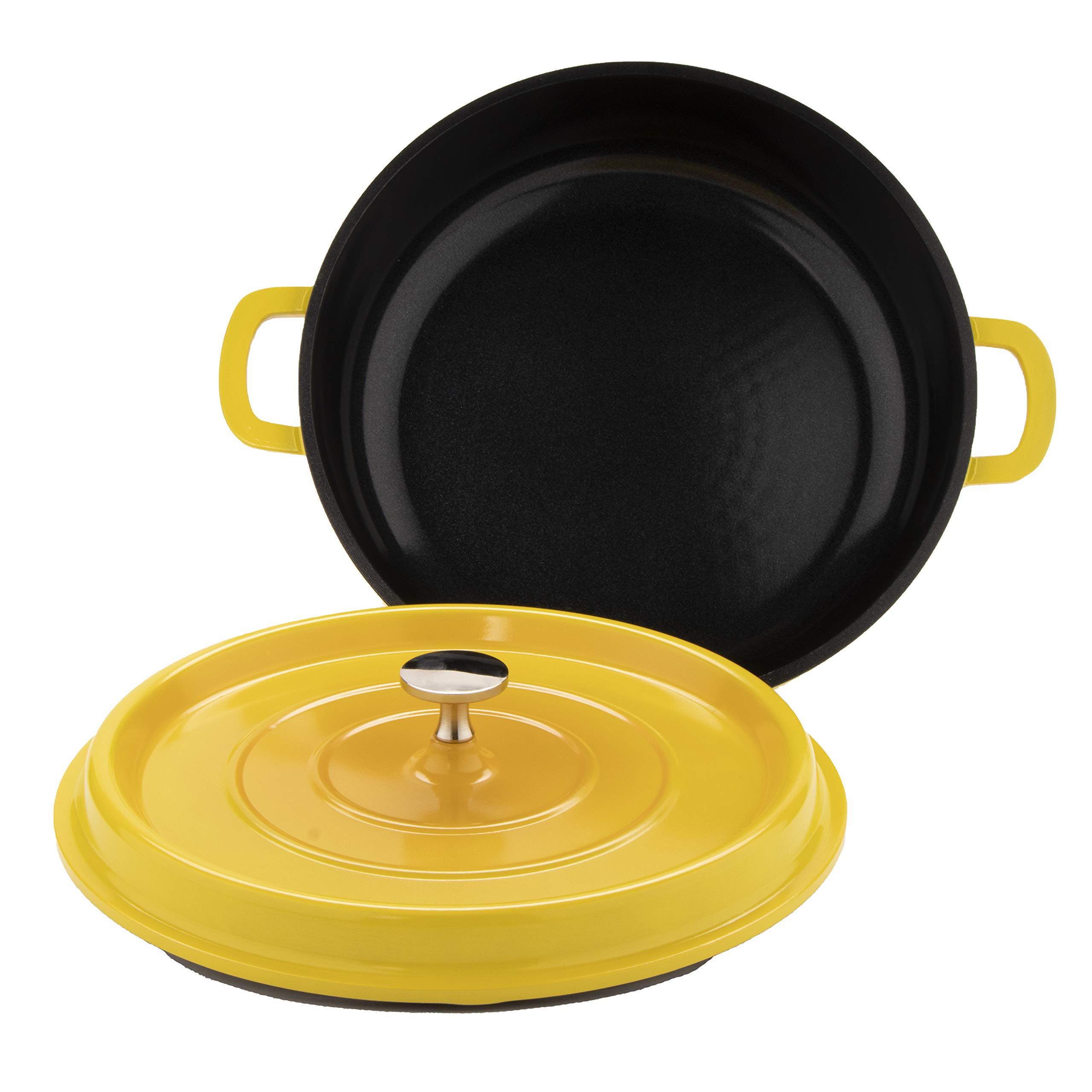G.E.T. Enterprises Yellow 5 Quart Round Casserole Pan, Cast Aluminum with Lid and Handles Heiss CA-008-Y/BK