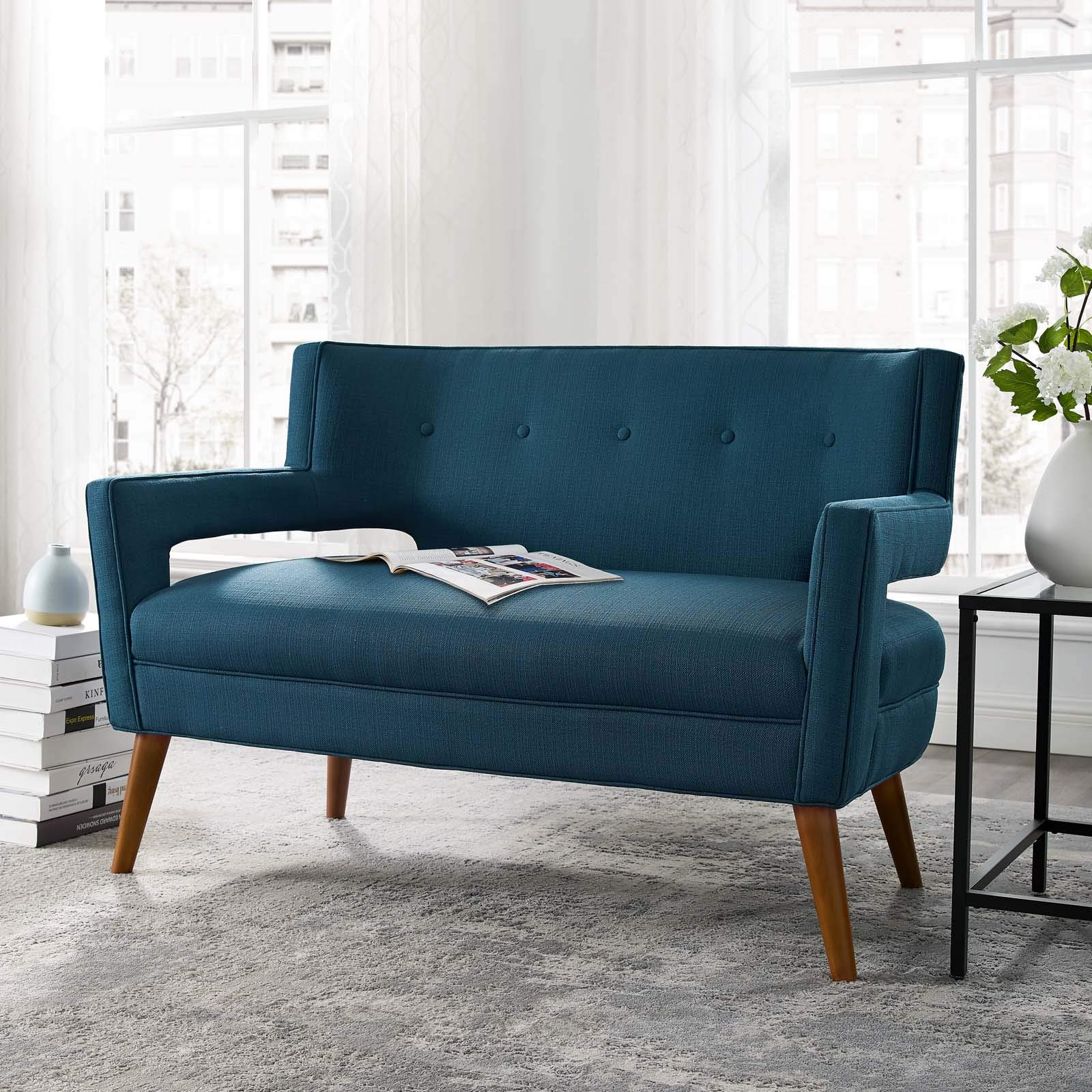 Modway Sheer Upholstered Fabric Mid-Century Modern Loveseat in Azure by Modway