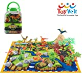 50 Piece Dinosaur Play Set: Ultimate Educational Toy of 20 Realistic Dinosaurs + 29 Trees & Rocks + PlayMat   Walking Dinos with Moving Jaws To Develop Kids Imagination   Top Dinosaur Gift Set