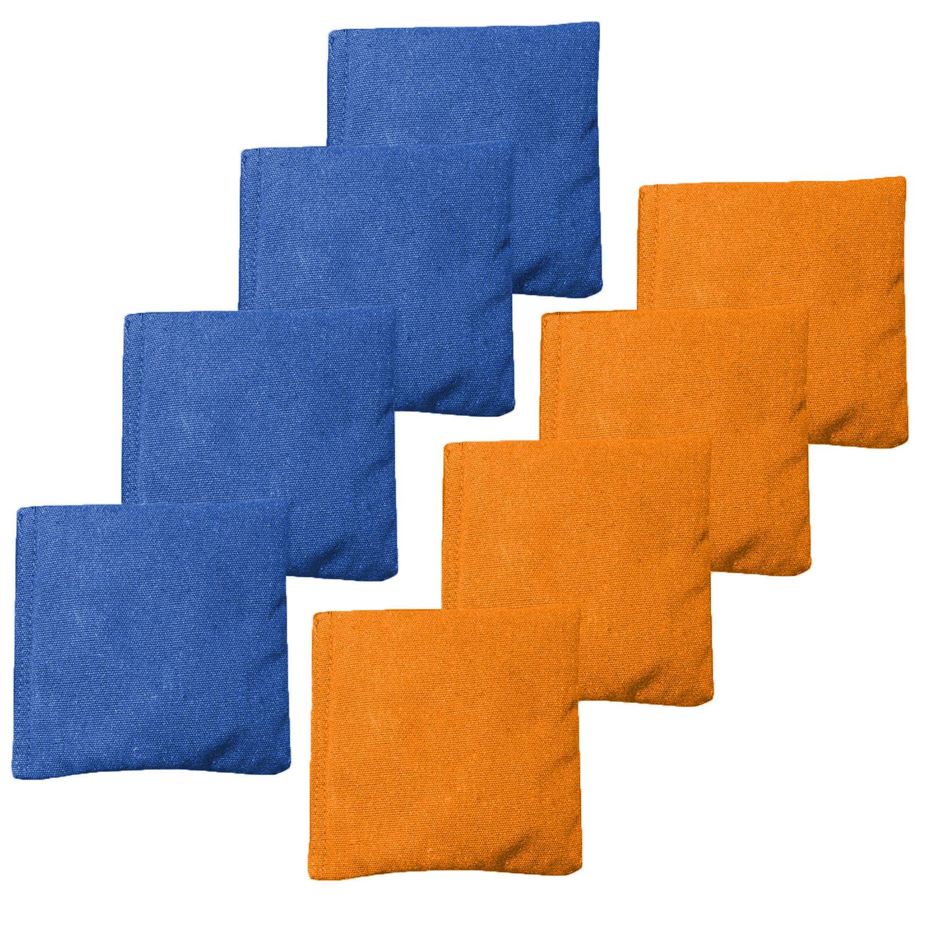 All Weather Cornhole Bean Bags Set of 8 - Duck Cloth, Regulation Size & Weight - Orange & Royal Blue