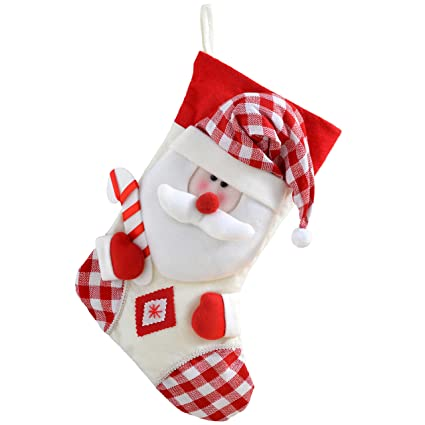 987552578 WeRChristmas Christmas Stocking with 3D Santa Claus Head in Tartan Finish,  48 cm - Red/White: Amazon.co.uk: Kitchen & Home