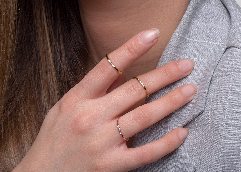 5 diamonds skinny ring, Ultra thin ring, Midi ring, Delicate diamond ...