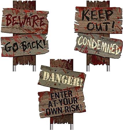 Bloody Hand Metal Wall Sign BEWARE Art Zombie Halloween Room Door Undead