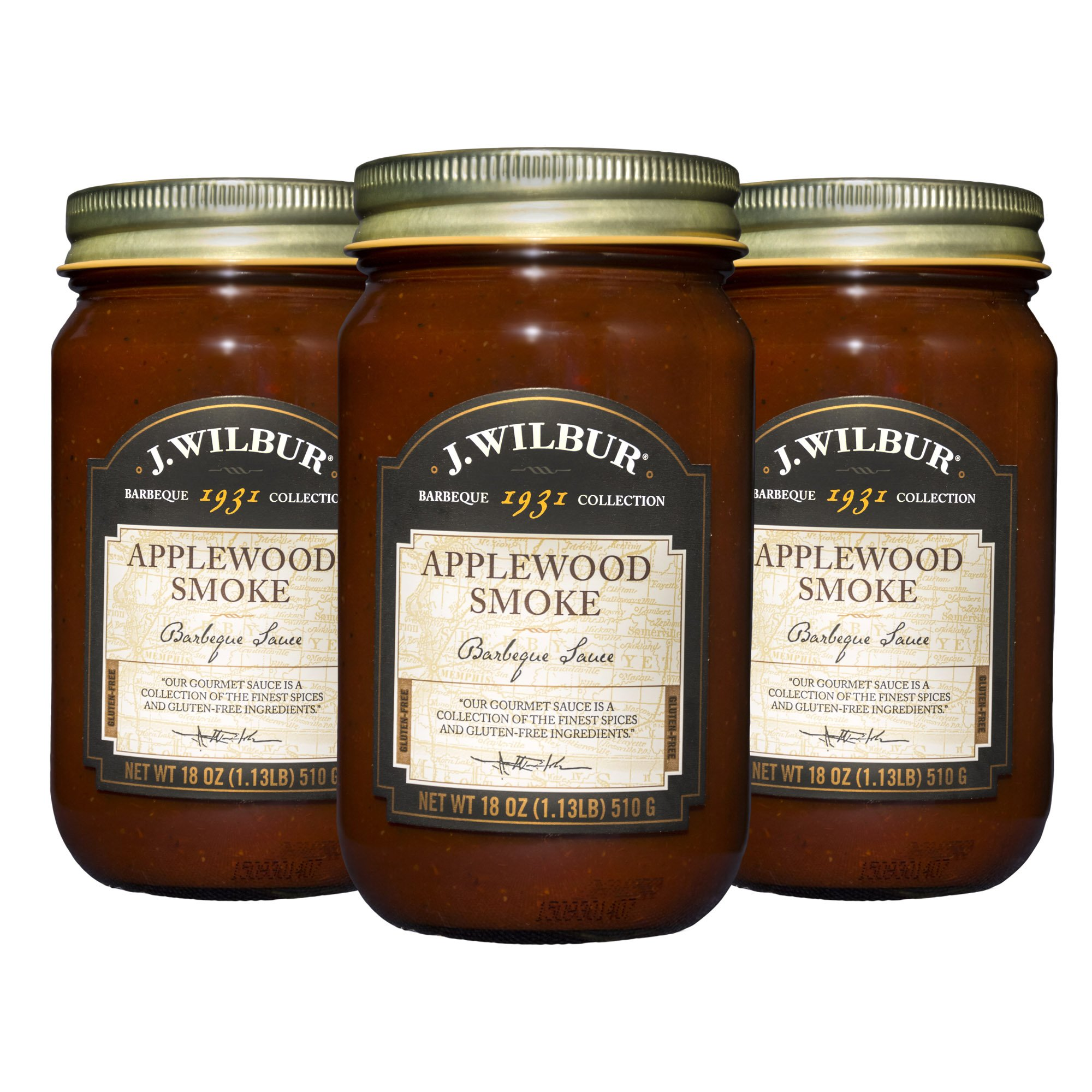 J.Wilbur Foods Apple Wood Smoke Barbeque Sauce All-Natural and Gluten Free, 18 oz, 3 Count